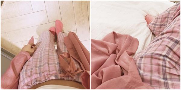 甜蜜少女格紋緞帶家居長褲