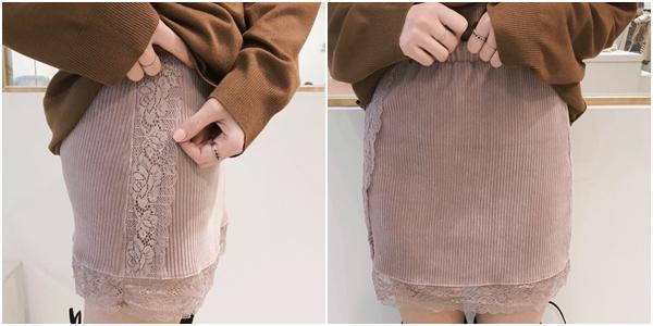 微甜小女人磨毛感坑條短裙