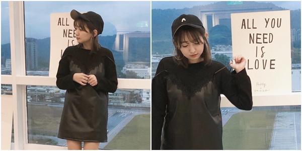 率性質感假二件式仿皮革洋裝