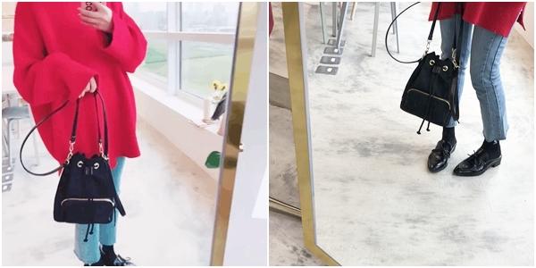 #PS201 雙車線褲管抽鬚直筒褲  + 韓國簡約束口包    +  韓國蝴蝶結裝飾平底牛津鞋
