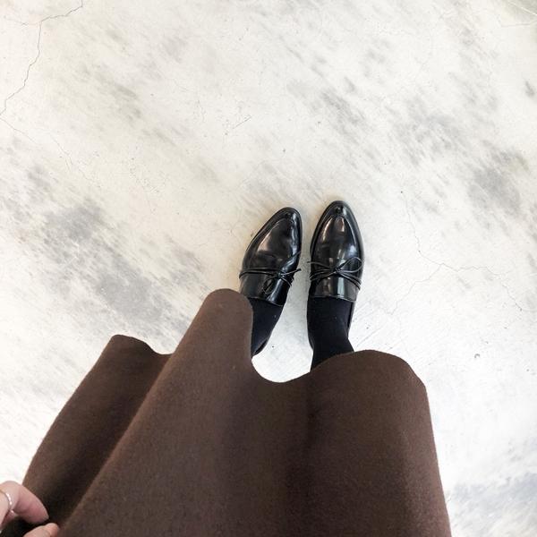 舒適針織長裙  +  韓國蝴蝶結裝飾平底牛津鞋