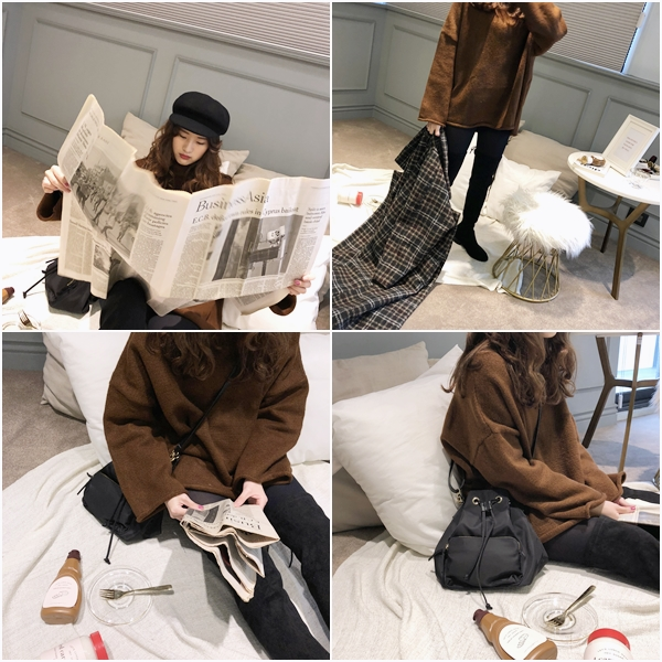 Peggy 158/45 穿S  捲捲邊長版針織毛衣  +  韓國簡約束口包  +  韓國簡樸百搭戒指組合-銀色款  +  韓國立體報童帽  +  韓國後綁帶麂皮感長筒靴
