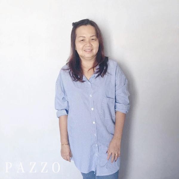 我是来自马来西亚的55岁妈咪 。衬衫是我最常买的款式。老公也很喜歡我穿這個款式😃每個星期一和三都會叫我女兒幫我看有沒有適合我的😁 因为pazzo的衣服上身效果真的好漂亮! 也好适合我这种年龄呢!👍 Mei Sin Maggie Qii _Yit Feen Ng