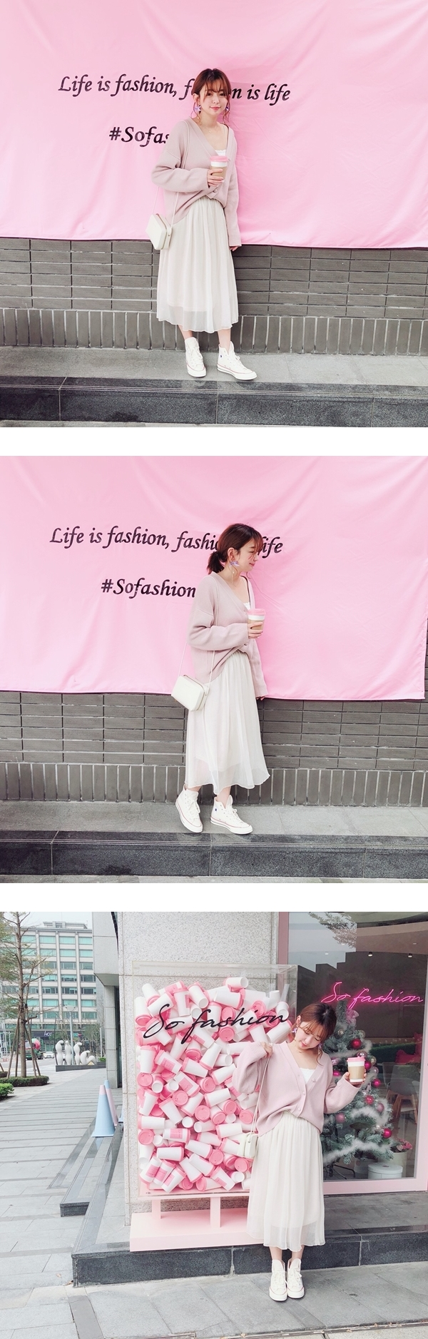 輕柔氛雪紡中長裙  +  NO,080韓國蝴蝶結鍊條垂墜夾式耳環  +  慵懶女孩包釦針織外套