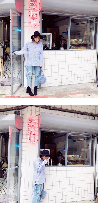挖背綁帶條紋襯衫  +  韓國製作. 破損感中腰牛仔褲  +  NO,082韓國唯美小花點綴圈圈夾式耳環