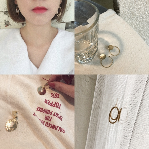 韓國簡約橢圓雙圈耳環 + 韓國金屬圓片造型耳環 + 韓國質感簍空不規則耳環