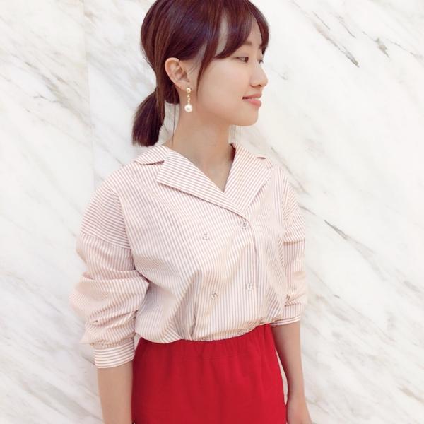 小清新條紋包釦襯衫  +  韓妞百搭多色魚尾裙  +  韓國簡約垂墜雙色珠珠耳環
