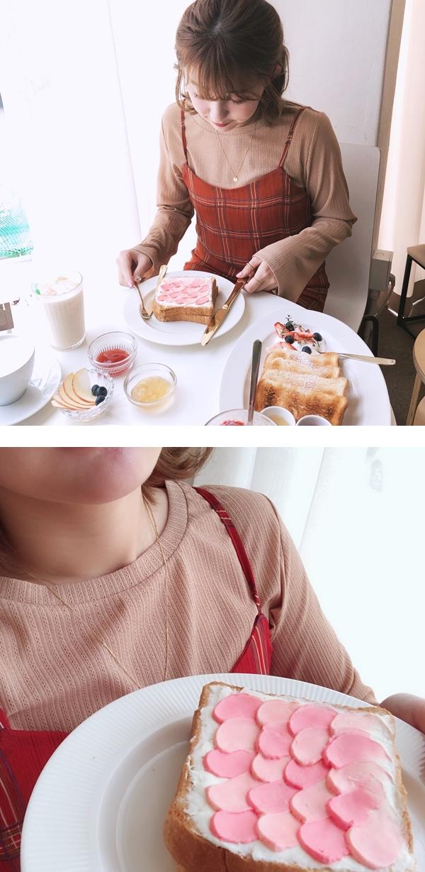 慵懶微透肌寬袖上衣 + A'a 微甜氛格紋雪紡洋裝
