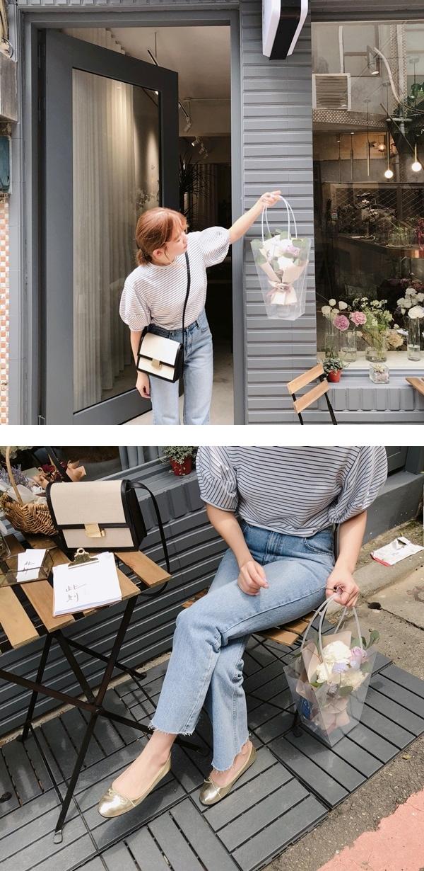 百搭條紋拋袖設計上衣  + #PS801 韓國製造˙顯瘦挺版小喇叭褲