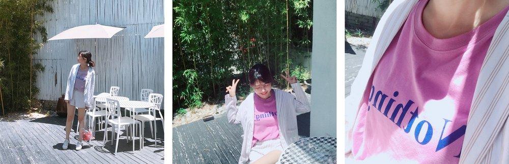 MIT休閒感標語印花長版上衣  +  率性直紋棉麻西外套裝  藍莓紫 F ,江江 161 / 48