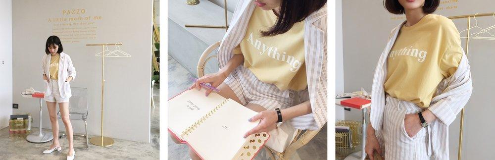 MIT休閒感標語印花長版上衣  +  率性直紋棉麻西外套裝  鵝黃 F 阿干 165 / 47