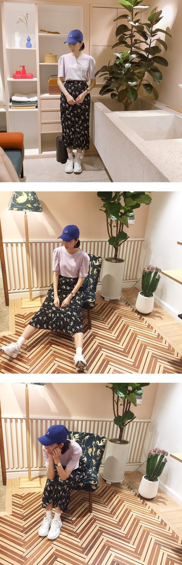 阿干165/ 47  MIT 簡單素面澎袖短袖上衣 + 未來新品裙