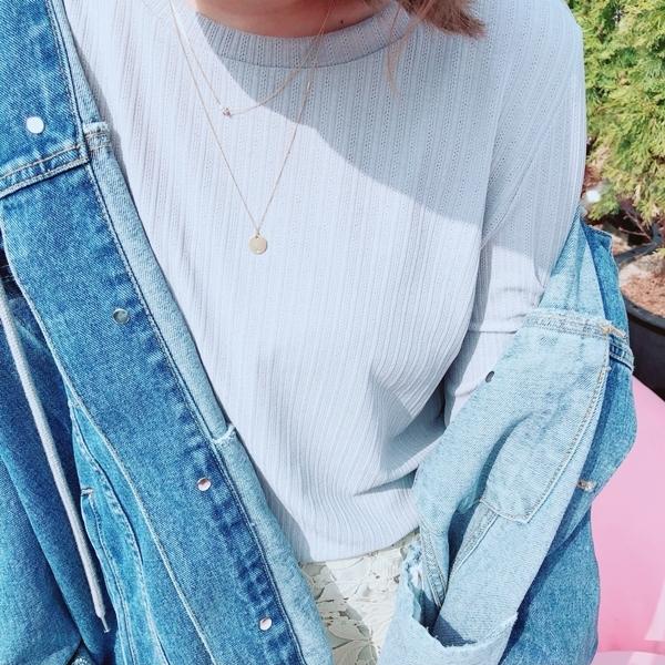 簡約優雅珍珠圓片雙層項鍊   +  慵懶微透肌寬袖上衣