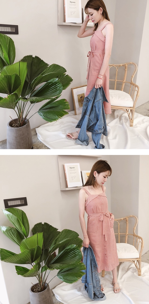 清新感配色格紋綁帶洋裝P40202274.jpg