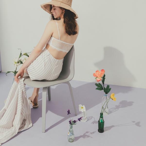 MIT舒適蕾絲花邊平口BRAT + 率性直紋棉麻西外套裝