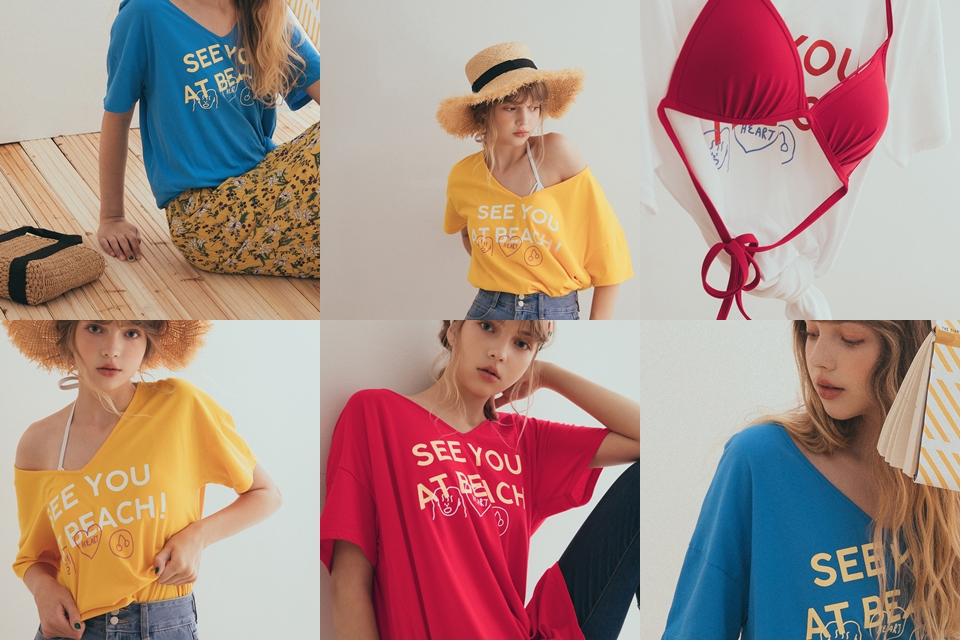MIT 來去海邊吧塗鴉印標短袖上衣 + A Little up夏日海灘美胸比基尼 + 度假感織帶配色抽鬚草帽
