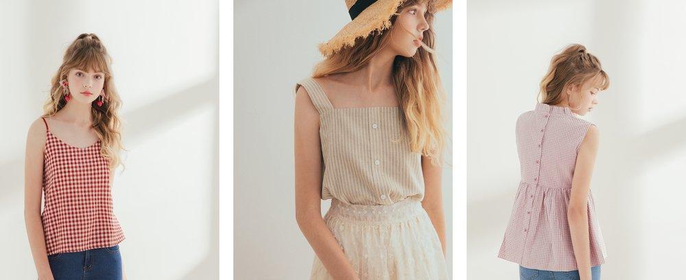 清新感V領雙肩帶格紋背心 + 未來新品 + 立領微甜格紋無袖上衣