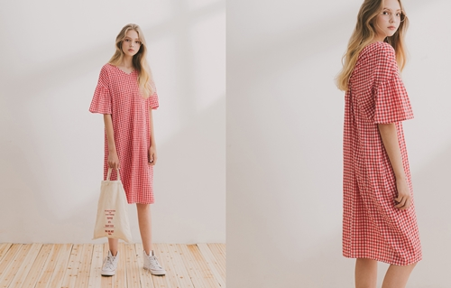 pazzo look/  summer小清新後扭結格紋短袖洋裝