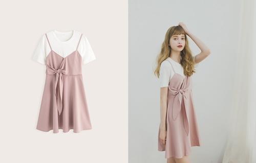 pazzo look/  假兩件小女人優雅綁結洋裝