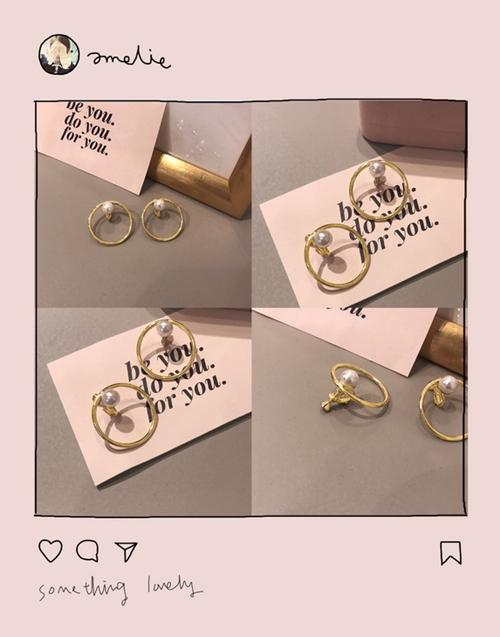 pazzo look/ NO,098韓國簡約感珍珠點綴圓型夾式耳環