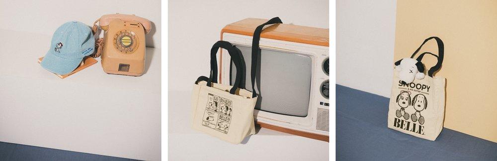 SNOOPY & BELLE BELLE刺繡水洗感棒球帽  / SNOOPY & BELLE 四格漫畫兩用小側背袋  / SNOOPY & BELLE 兩用大側背袋
