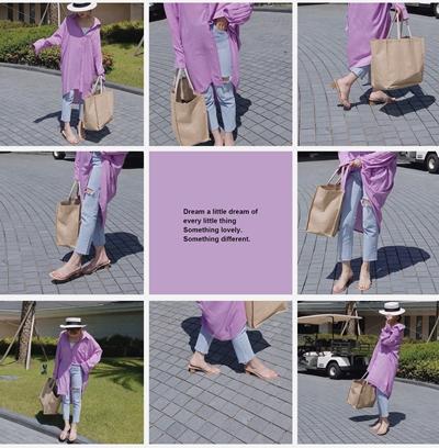 #PS201 褲口不收邊直筒牛仔褲 /穿M   淺藍+    麻布旅行袋