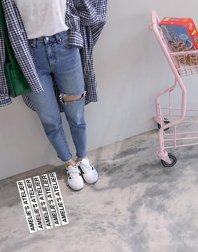 #PS201 褲口不收邊直筒牛仔褲 /穿M       深藍   + 雲朵棉U領無袖上衣