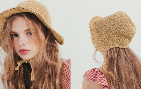 pazzo look/  韓妞織帶裝飾編織遮陽帽