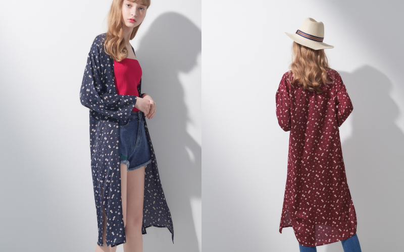 pazzo look/  夏氛排釦印花罩衫