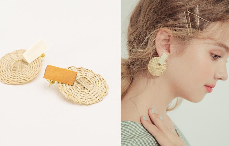 pazzo look/  木質拼接圓型藤編針式耳環