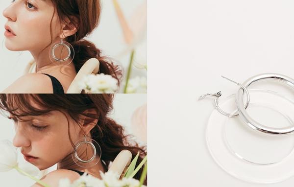 pazzo look/ 個性女孩透明大圈圈耳環