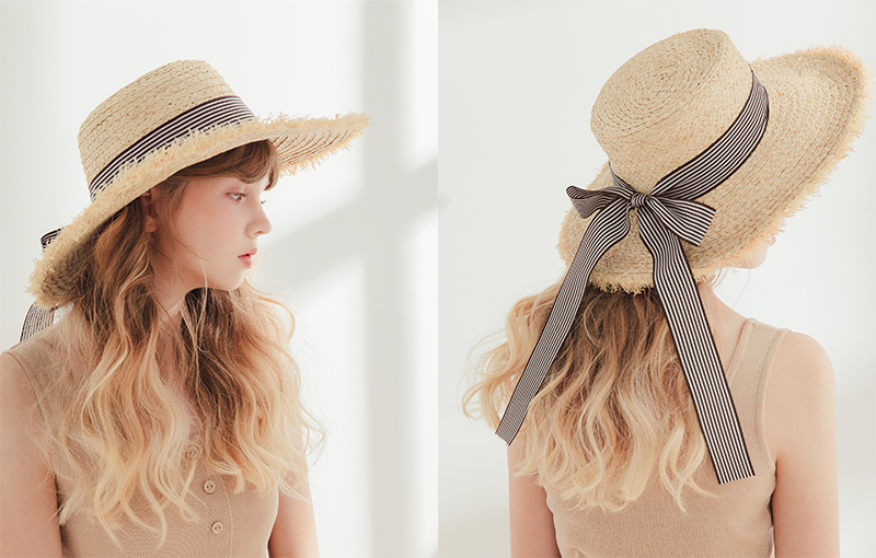 pazzo look/  條紋緞帶渡假草帽