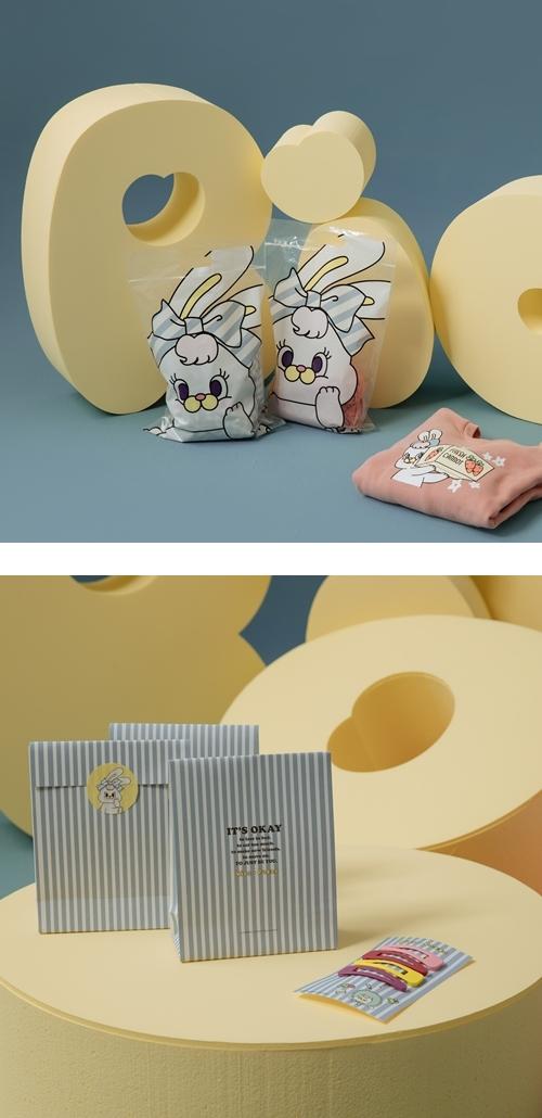 RICO 莉可兔 貪吃日常寬鬆大學T  +  RICO莉可兔 韓系少女髮夾(4入)