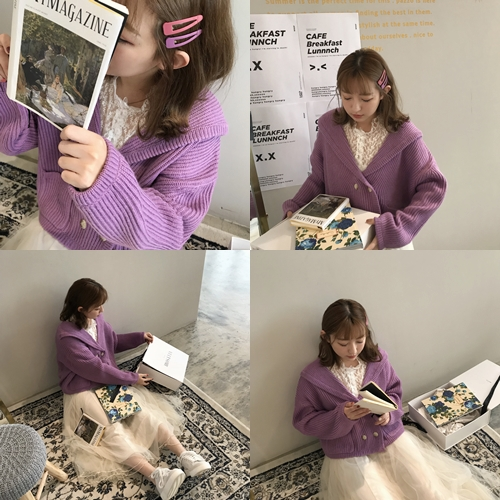 清新感水兵領片雙口袋針織外套   +  RICO莉可兔 韓系少女髮夾(4入)