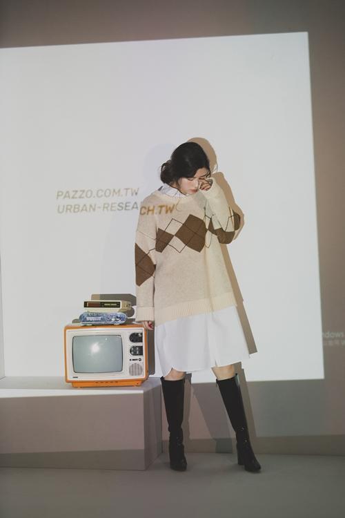 pazzo look/  URBAN RESEARCH x PAZZO 菱格紋針織毛衣