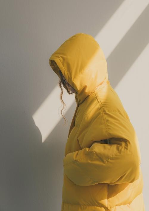 pazzo look/ WARM SERIES保暖舒適配色羽絨外套 . 南瓜黃