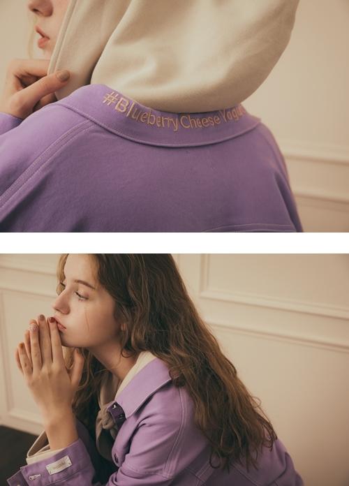 pazzo look/  PANTONE UNIVERSE 刺繡標語袖打摺牛仔外套