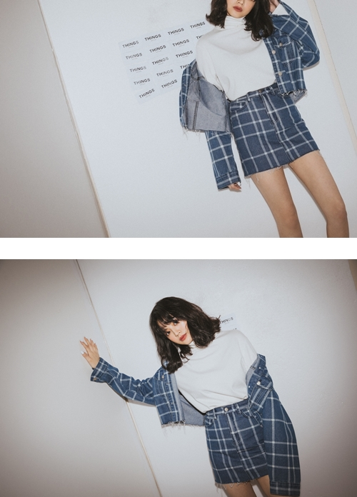 pazzo look/  & IN THING 格紋牛仔外套 + & IN THING 格紋牛仔短裙