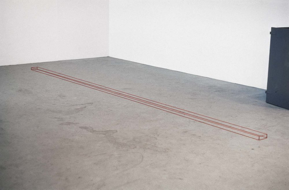 <i>Untitled (Red Floor Piece)</i>, 1967, installed in the <br>Sandback's studio at Yale School of Art and <br>Architecture, New Haven