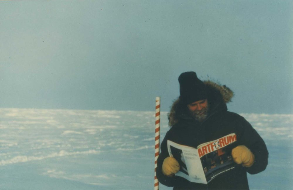 <i>Artforum</i> holiday card, the image shows Sandback <br/>reading <i>Artforum</i> on his expedition to the North Pole.
