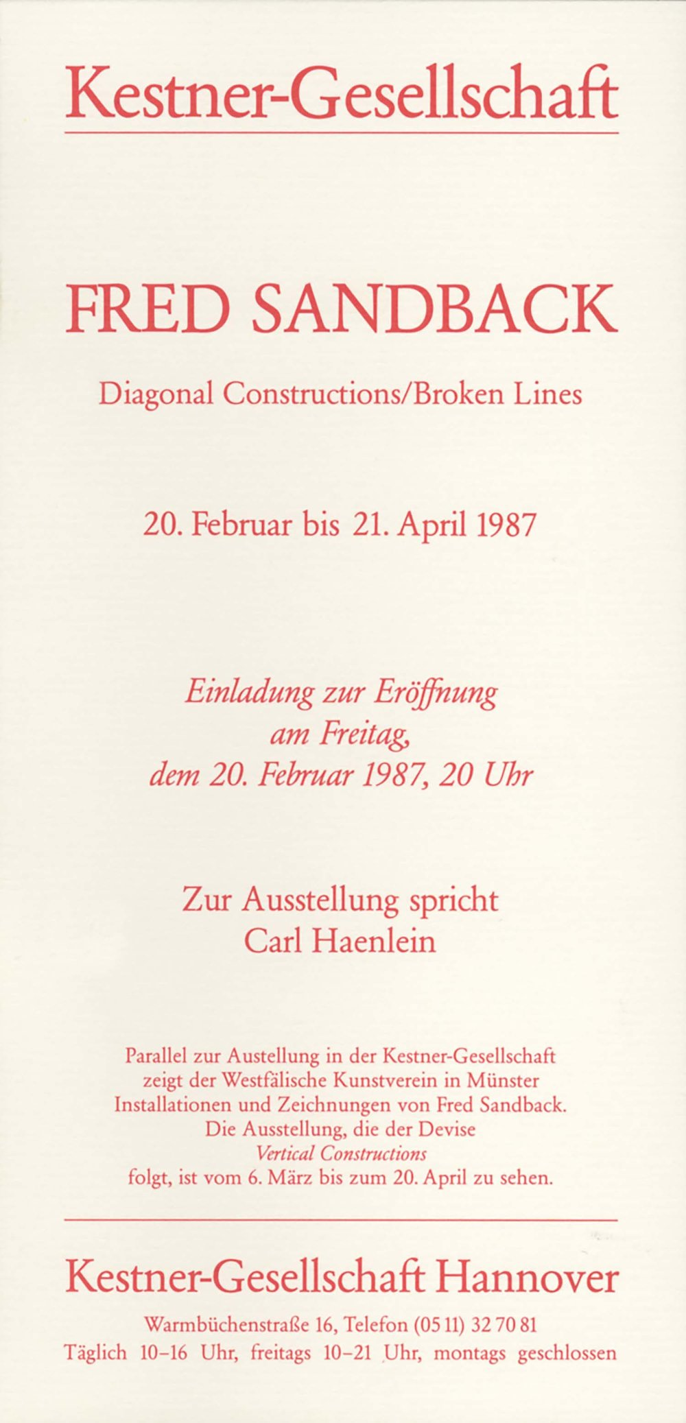 Kestner-Gesellschaft, Hannover, invitation card