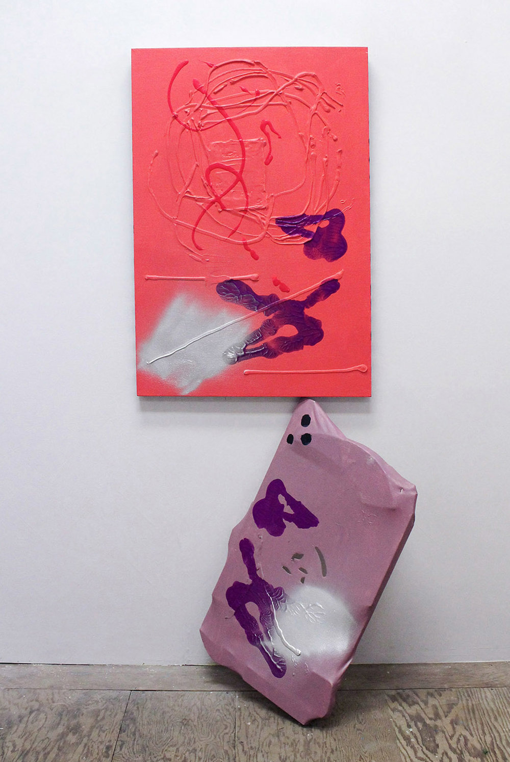Pink and Purple with Silver,  2016, acrylic, caulk, and spray paint on canvases