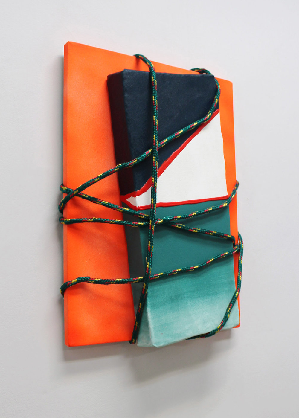 Orange Painting with Blue , 2016, acrylic and spray paint on canvases, rope