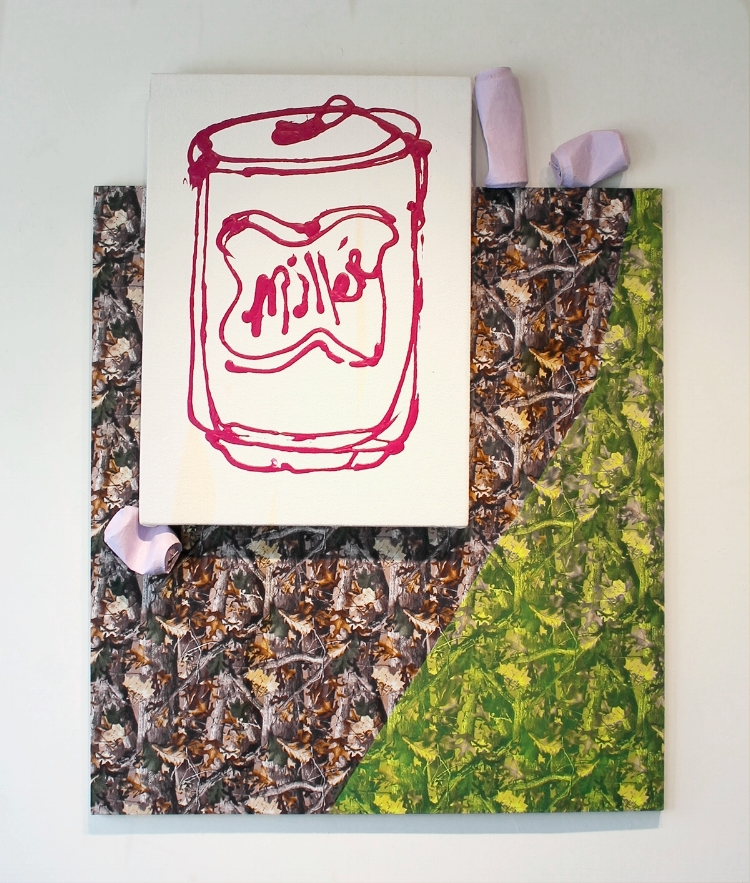 Camo Painting with Purple Miller , 2018, camouflage fabric, acrylic paint, felt, paper mache beer cans