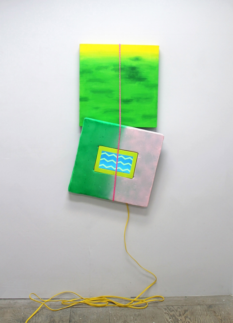 Green Painting with Screen , 2015, acrylic and spray paint, panel, foam, felt, hand braided rope, extension cord, digital screen with looping video