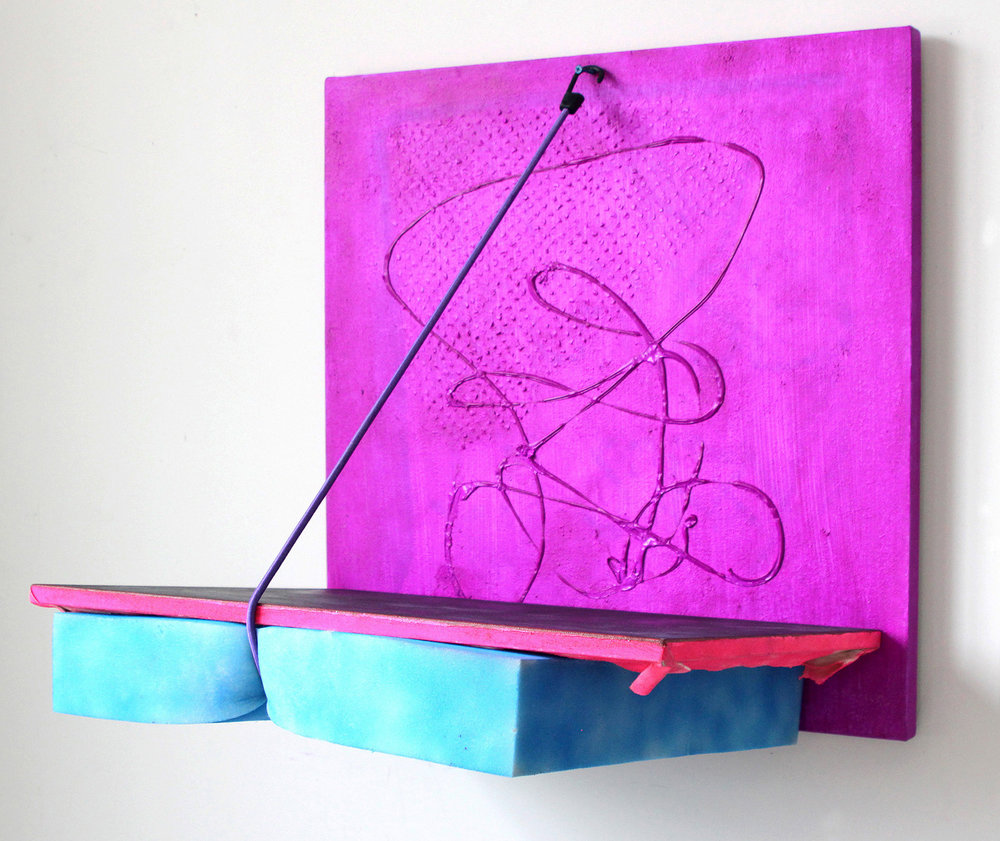 Shelf , 2015, acrylic and spray paint on canvas, foam, bungee cord, screw