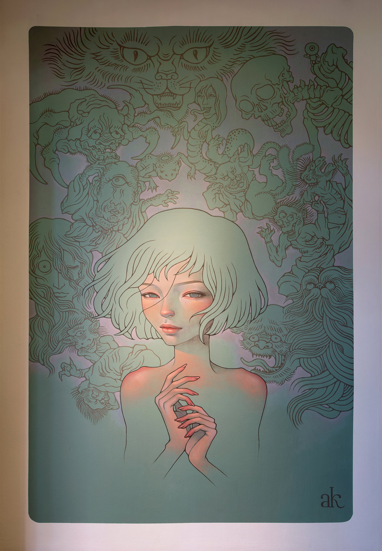 8ft x 12ft.mural at Long Beach Museum of Art, Pow! Wow! Longbeach!2015.  Long Beach, CA. US.