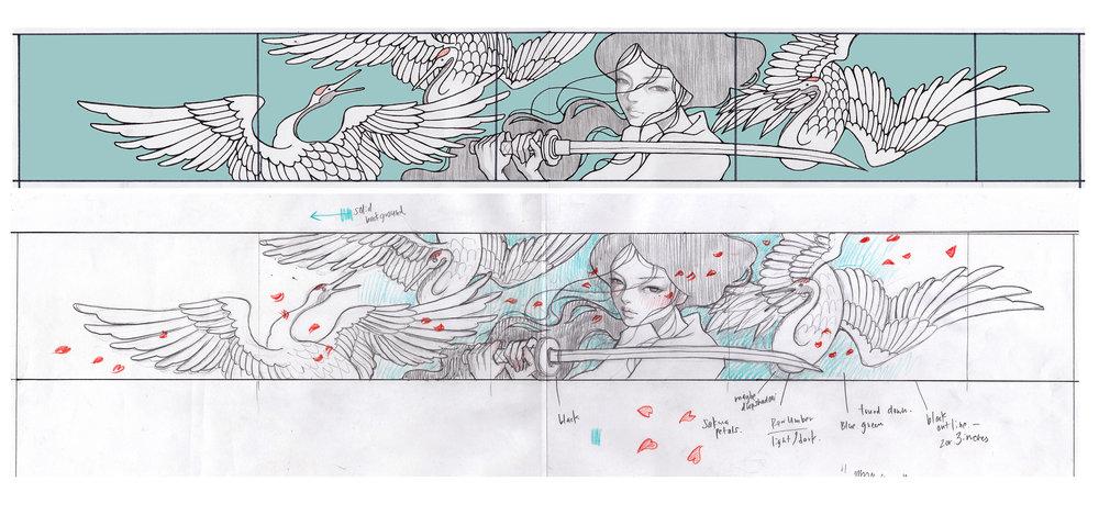 sketch for mural at Worchester Art Museum, Samurai! 2015.  Massachusetts, Boston. US.