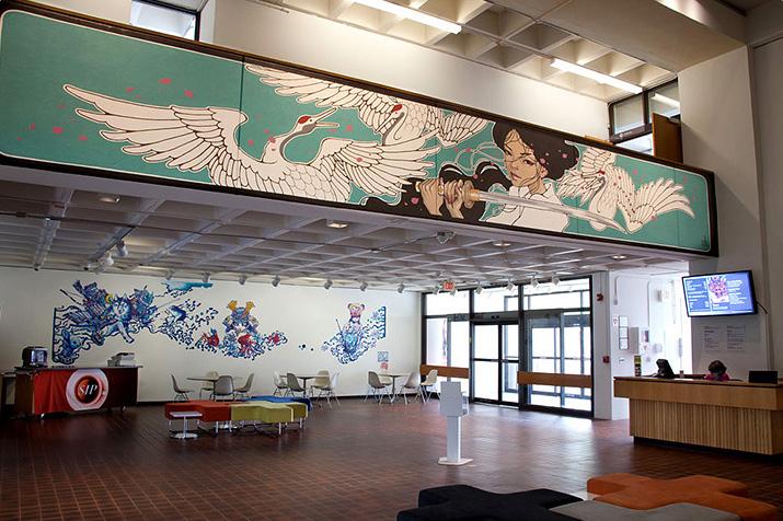 35ft x 5ft. mural at Worchester Art Museum, Samurai! 2015.  Massachusetts, Boston. US.
