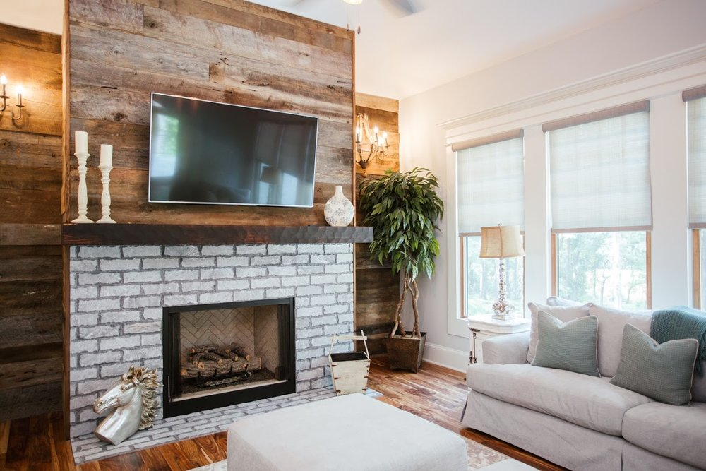 Textured and Toasted Fireplace Mantel With Reclaimed Wood Accent Wall Fireplace